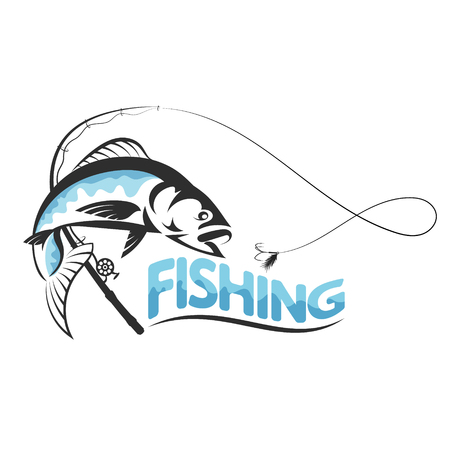 Fish jumping for bait and fishing pole silhouette Illustration