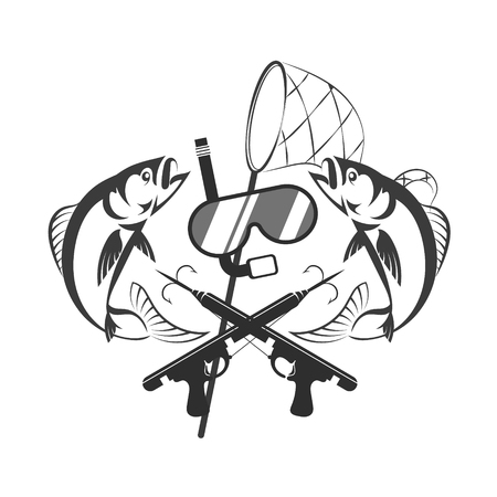 Underwater hunting design. Mask for diving and scuba gun silhouette. Illustration