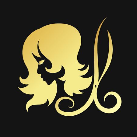 Silhouettes of girls and scissors of gold color. A symbol for beauty salons and a hairdresser.