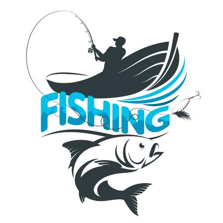 barca da pesca: Fisherman in a boat on a fishing silhouette vector