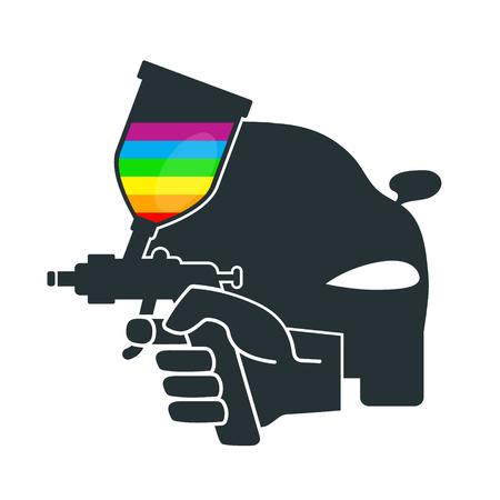 paint gun: Sprayer for painting car in hand vector Illustration