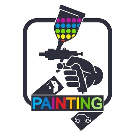 Spuitmachine voor het schilderen van auto's en huizen symbool