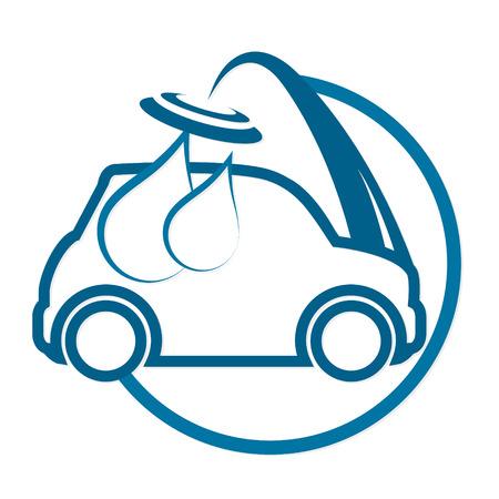 Auto washing for business Illustration
