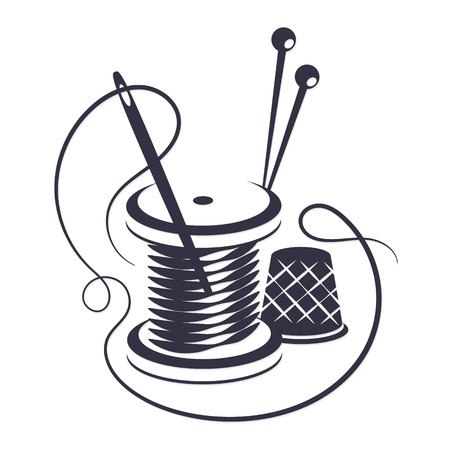 Symbole pour coudre avec du fil et une aiguille