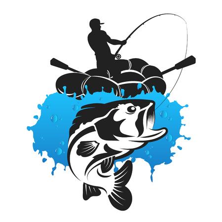 Un pêcheur dans un canot pneumatique tire un poisson