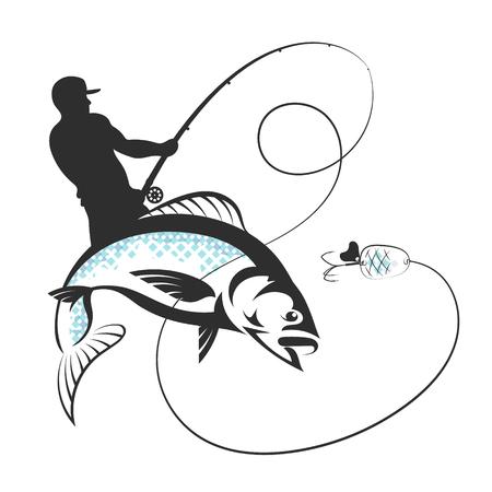 Fisherman catches fish vector