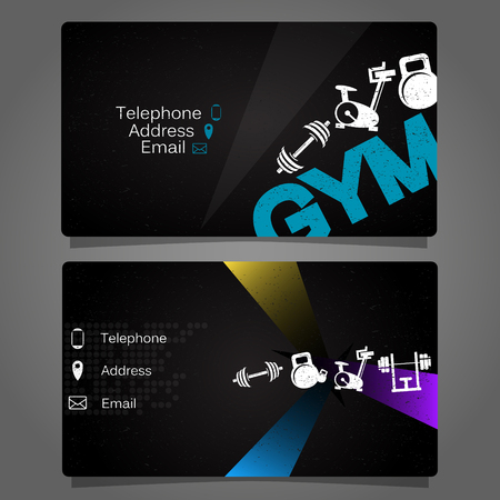 Business card for the gym and fitness concept Çizim