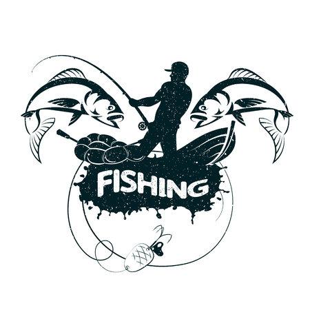 Fisherman catches fish silhouette vector