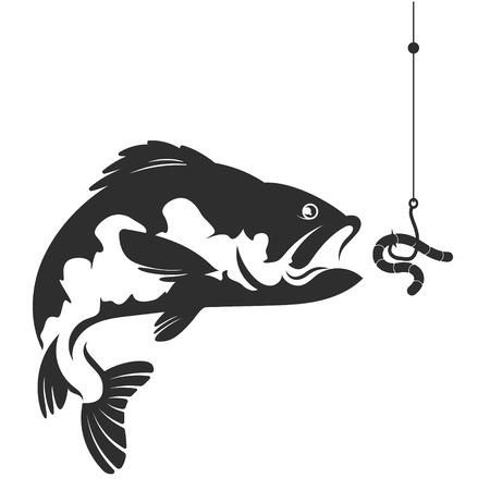 Pesci e un worm su una silhouette di gancio per la pesca