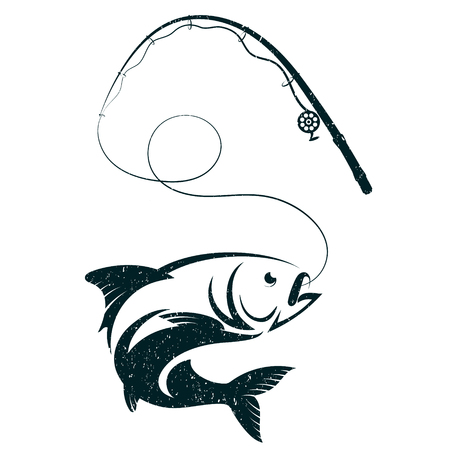 Fish on hook and fishing rod silhouette vector 免版税图像 - 80790636