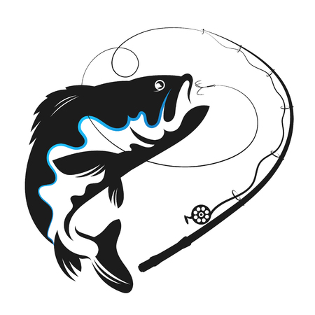 Fish swallows bait vector for fishing