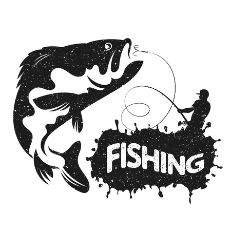 Fisherman with boat fishing vector silhouette