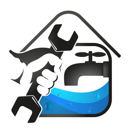 Spanner in hand for plumbing repair Illustration