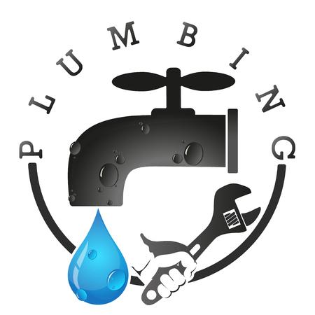 Plumbing repair and maintenance symbol for business