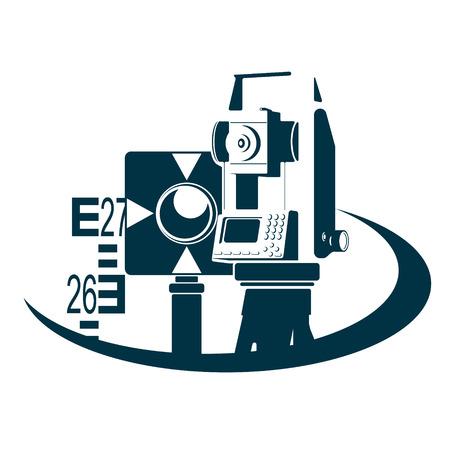 測地学と土地の登録記号  イラスト・ベクター素材