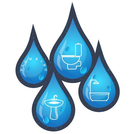 Dalingen van water voor loodgieterswerkreparatie en onderhoudsvector Vector Illustratie