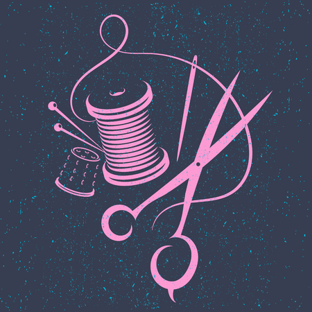 Scissors and thread for sewing silhouette vector