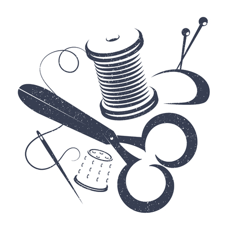 A set of tools for sewing vector