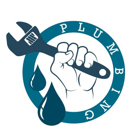 Plumbing plumbing in hand symbol vector Illusztráció