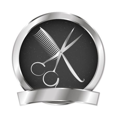 Scissors and hairbrush for beauty salon and hairdresser vector illustration Illustration