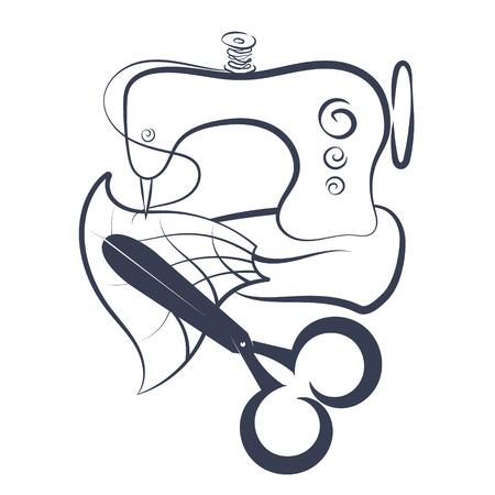 Maszyna do szycia i nożyczki sylwetka wektor