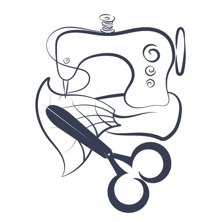 Sewing machine and scissors silhouette for vector