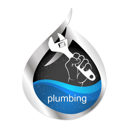 Symbol to repair plumbing and water supply vector