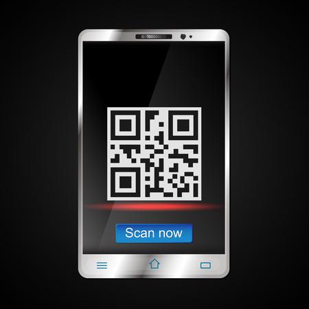 qrcode: Scanning a QR code on a smartphone vector illustration