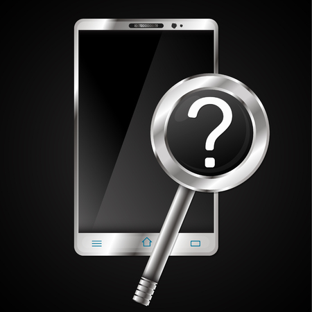 wireless: Smartphone and magnifying glass question mark search