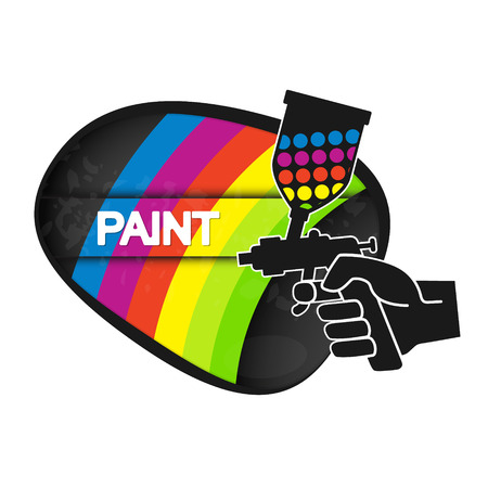 Spray for painting in hand illustration