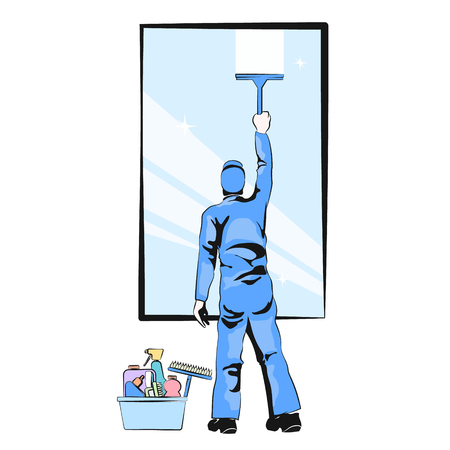 Worker washing window vector illustration