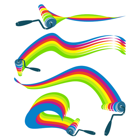 roller brush: Roller with wave of paint set vector