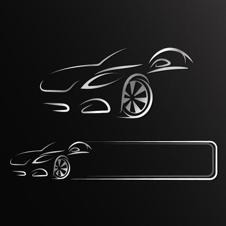 Auto projekt sylwetka do wynajęcia i naprawy Ilustracje wektorowe