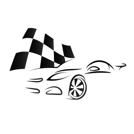 スポーツ車とチェッカーフラッグのシルエットをデザインします。
