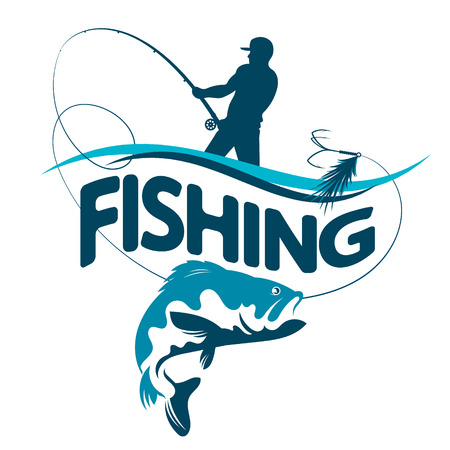 Fisherman with a fishing rod pulls a fish silhouette vector. Illustration