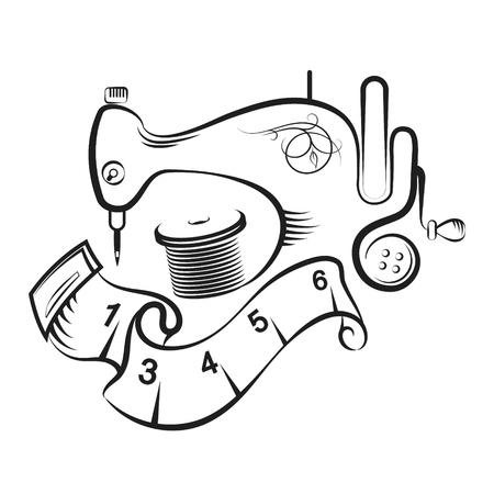 Projekt symbolu maszyny do szycia i akcesoriów