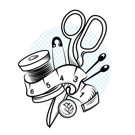 Set for cutting and sewing vector illustration