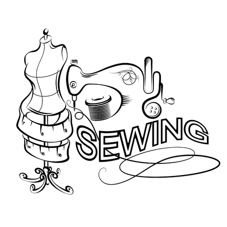 Sewing and cutting accessories set silhouette vector