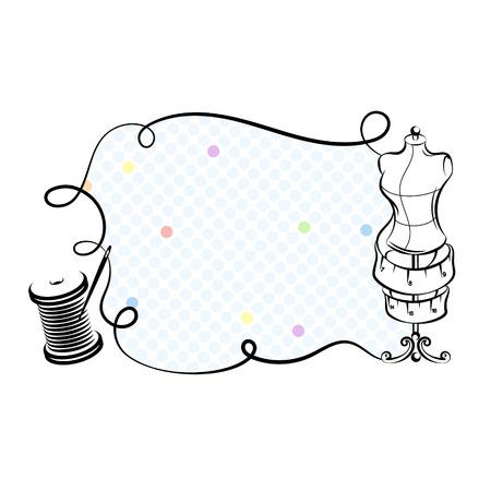 Mannequin en draadhaspel voor het naaien van silhouetvector