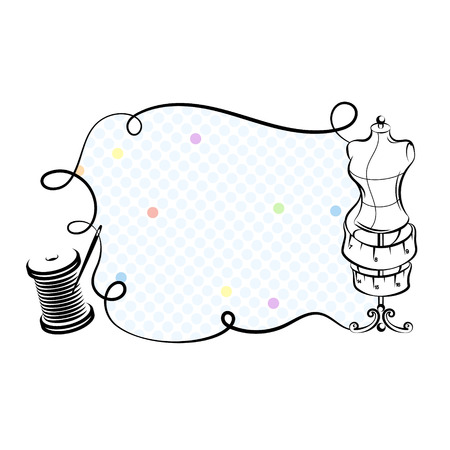 Mannequin and thread reel for sewing silhouette vector Illustration