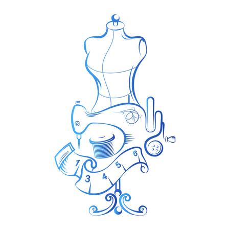 Nähen und Schneiden mit einem Mannequin und Zubehör Symbol