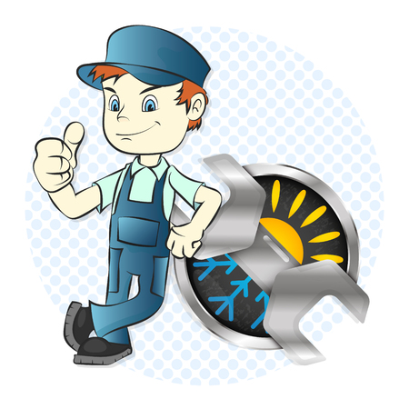 llave de sol: Master of repair and maintenance of air conditioners illustration for business