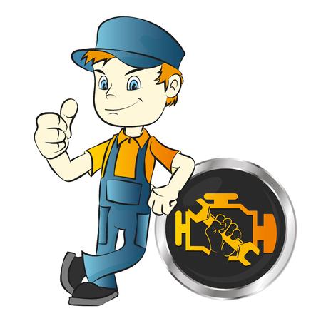 Car engine repair worker vector Illustration