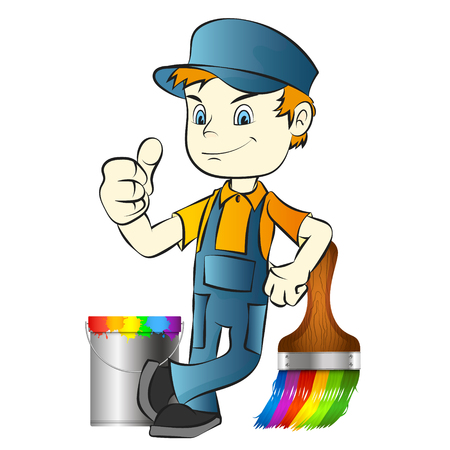 Painter with brush and bucket with paint illustration