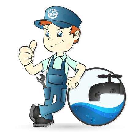 Loodgieter en watertapkraanillustratie voor reparatie Stock Illustratie