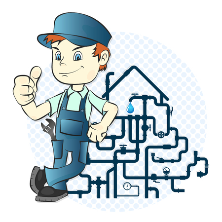 Plumber and pipe design for repair Ilustrace