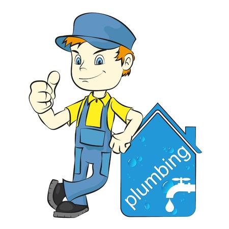 Plumber to repair plumbing and sanitary ware vector