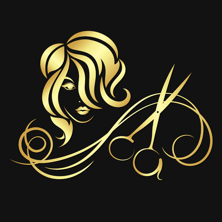 Silhouettes of girls and scissors of gold color Vectores