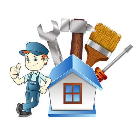 handy man: Repair man at home with tool illustration on white background.