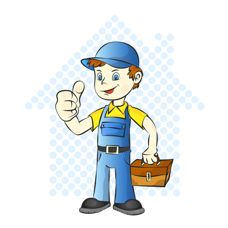 Repairman for home with a suitcase vector illustration. Illustration